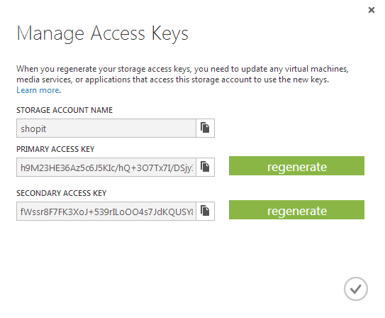 Azure portal access keys