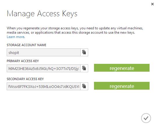 Azure portal access keys