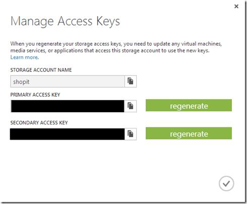 Azure Storage Access Keys