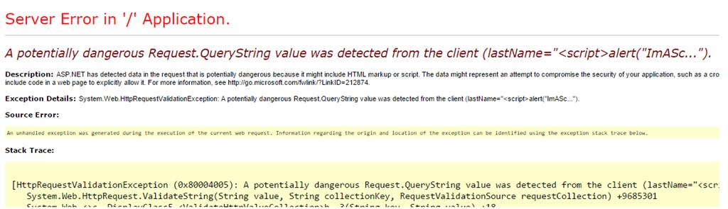 Request Validation error example