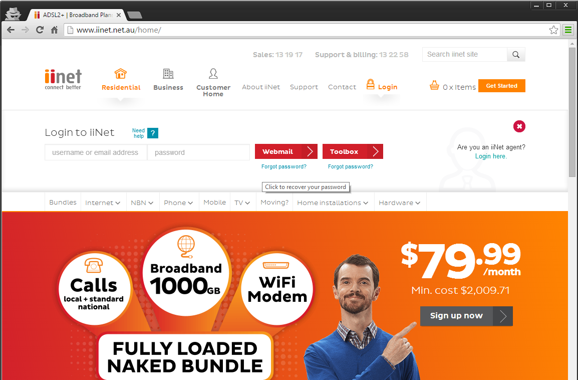 Screenshot of IINet Site