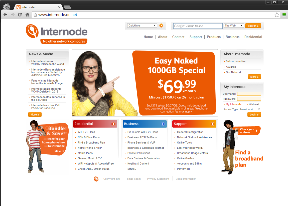 Screenshot of Internode.on.net Site