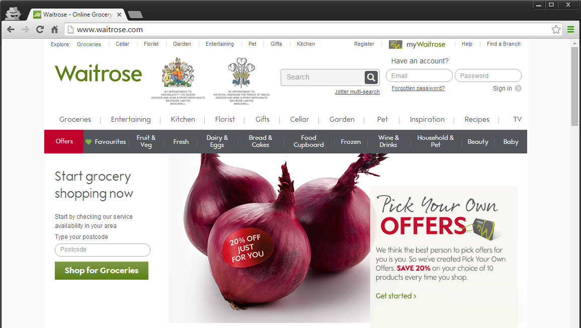 Screenshot of Waitrose Site