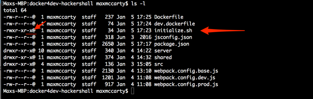 Docker tutorial - List of container directory files with their attributes