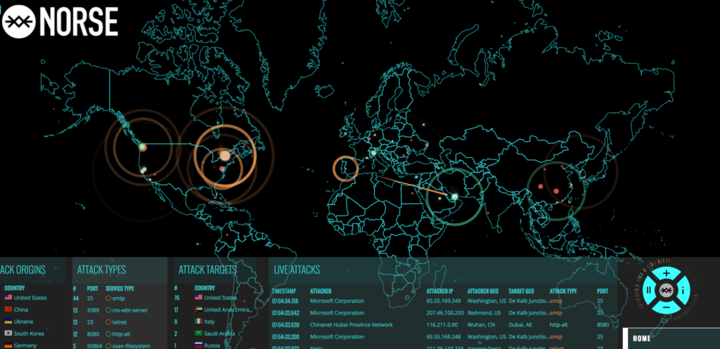 A DDoS History of attacks on the Norse Attack Map