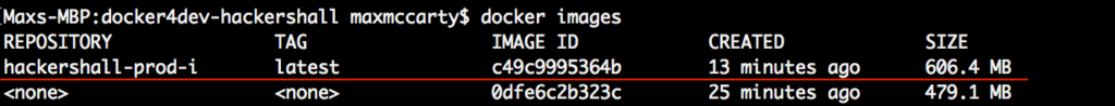 Docker tutorial - Image showing the images that have been created.