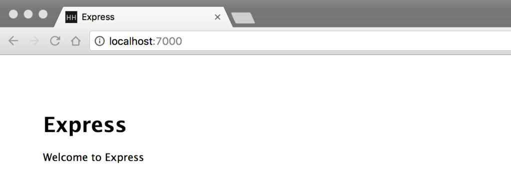 Browser running Express.js Site