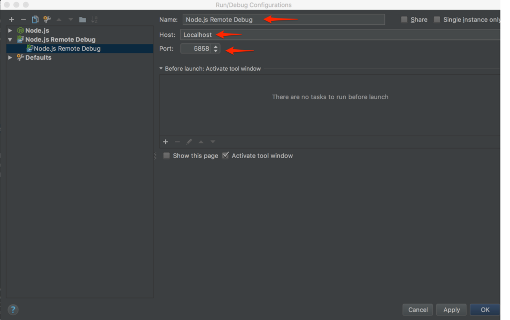 View of form for Node.js Remote Interpreter configuration in WebStorm