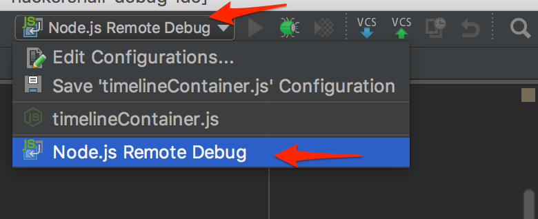 View of selecting the custom configuration to use when debug docker container from WebStorm