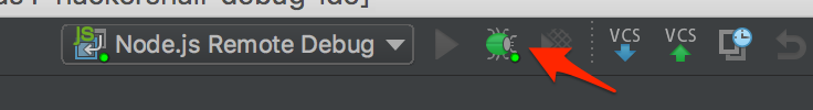 View of where the Bug Icon for WebStorm is to start a debug session