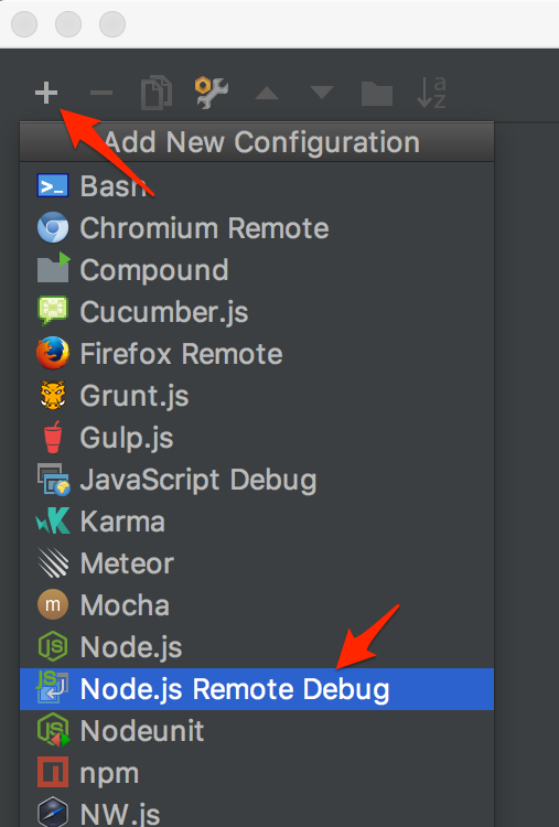 View of screen to add a custom WebStorm configuration