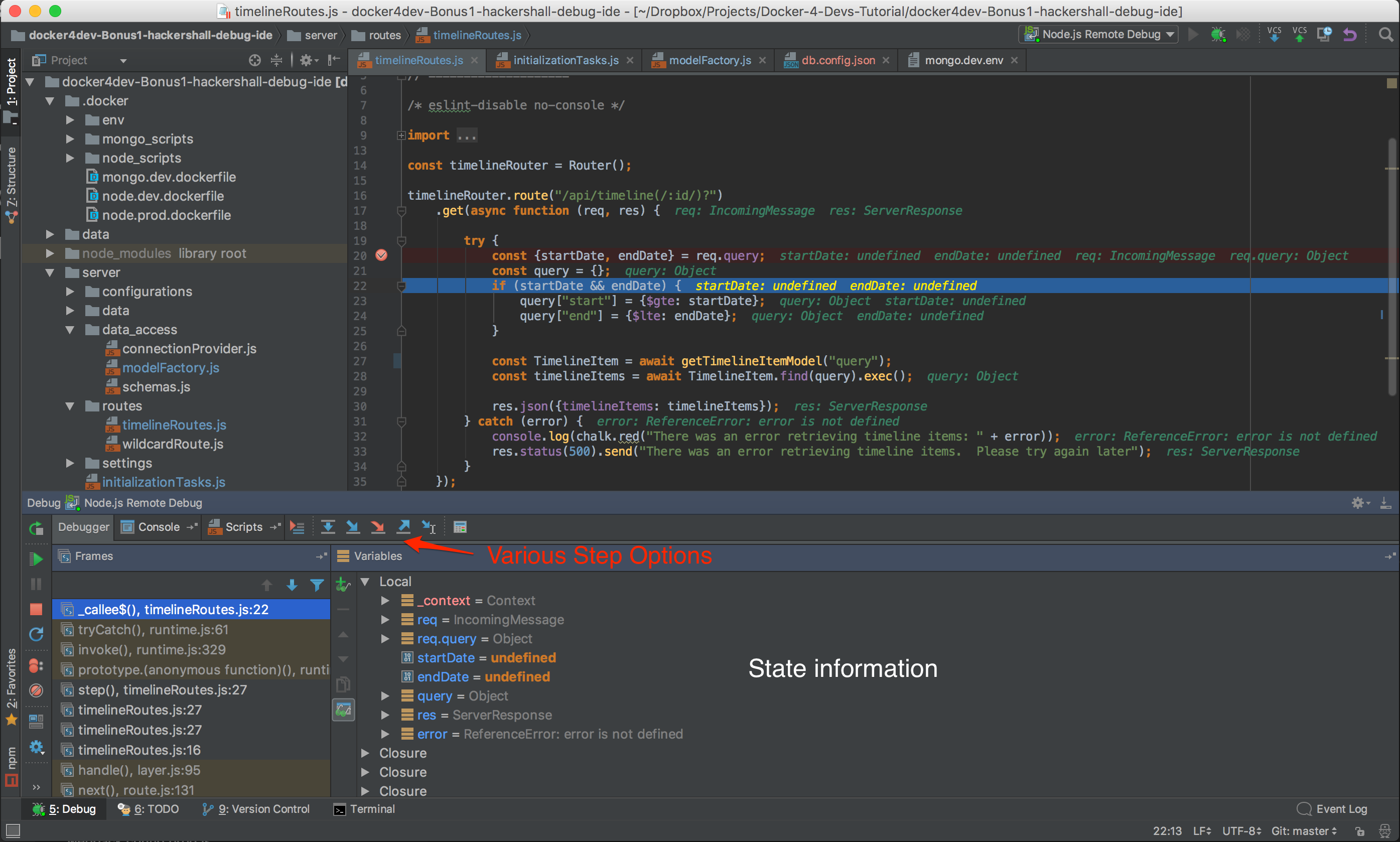 View of an actual debug session when breakpoint hit in WebStorm
